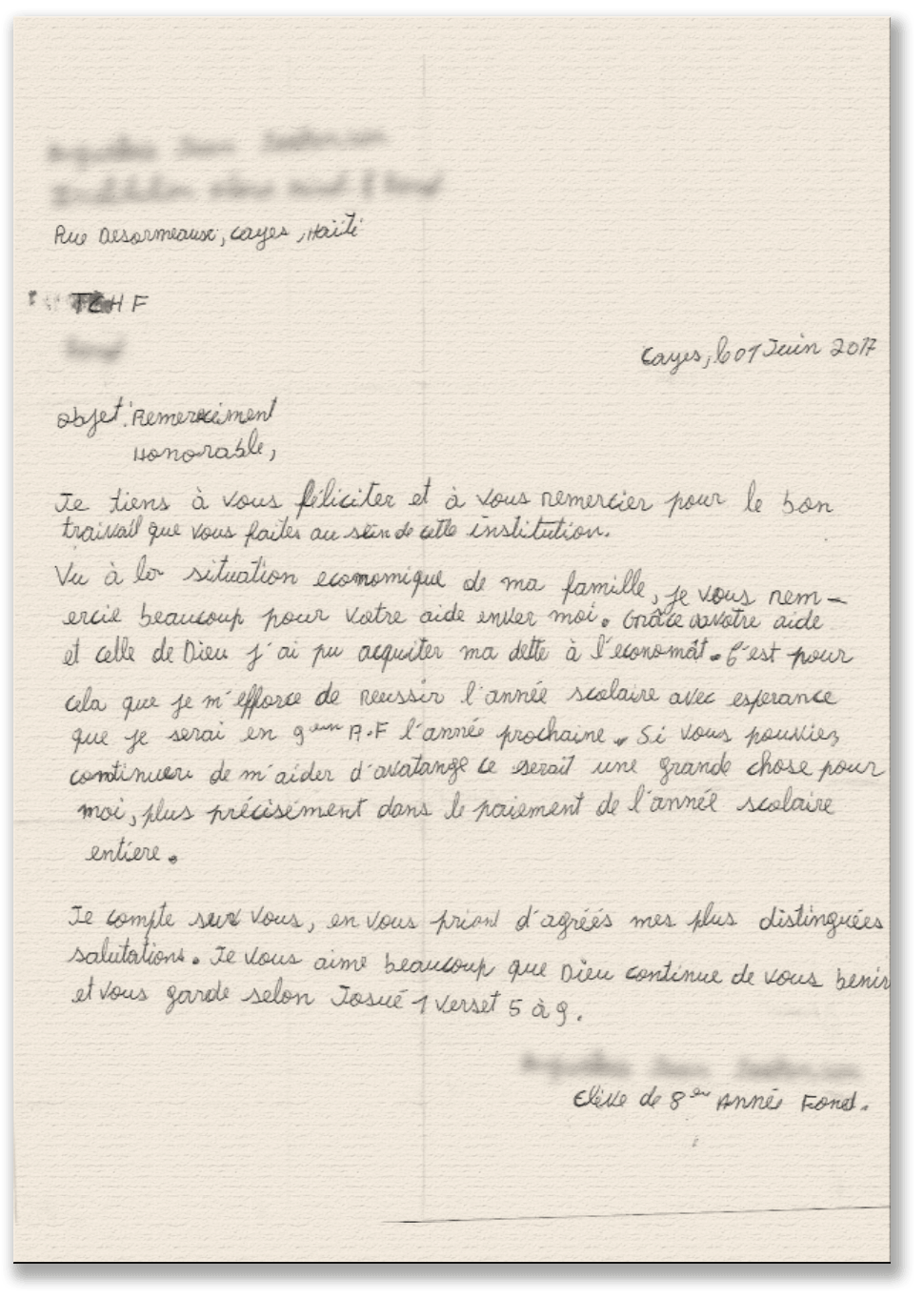 Letters from Students - The Children Heritage Foundation (tCHF)